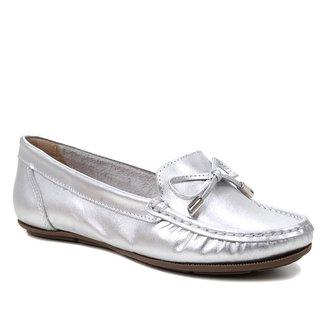 Mocassim Couro Shoestock Liso Feminino