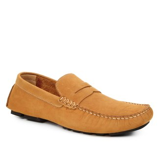 Mocassim Couro Shoestock Liso Nobuck Masculino