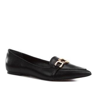 Mocassim Couro Shoestock Loafer Bico Fino Feminino