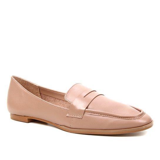 Mocassim Couro Shoestock Loafer For You Feminino - Nude