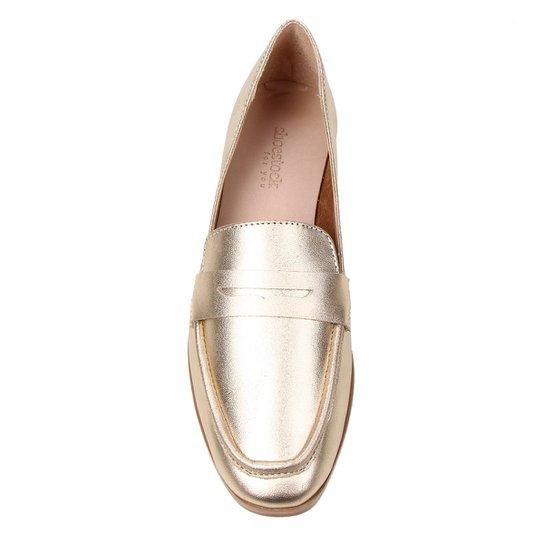 Mocassim Couro Shoestock Loafer For You Feminino - Ouro