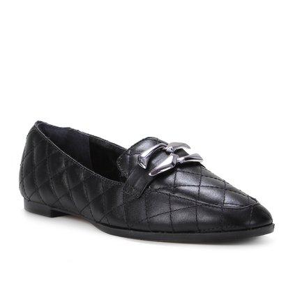 Mocassim Couro Shoestock Matelassê Metal Feminino