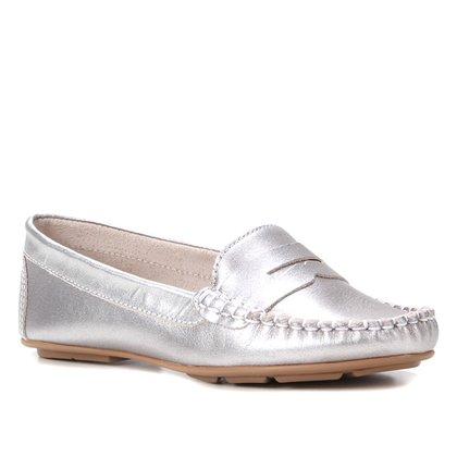 Mocassim Couro Shoestock Metalizado Gravata Feminino