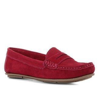 Mocassim Couro Shoestock Nobuck Feminino