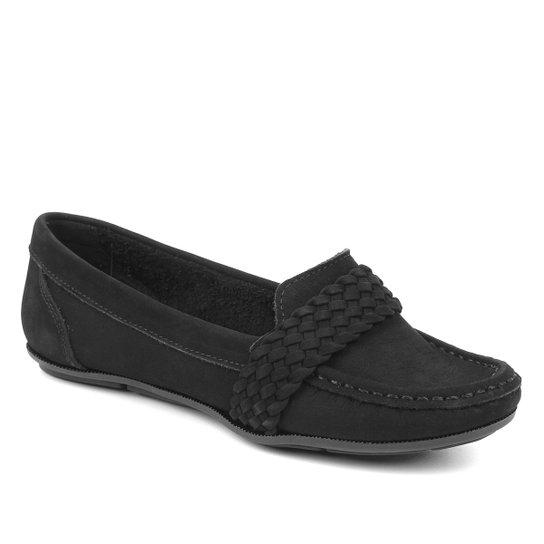 Mocassim Couro Shoestock Nobuck Gravata Trança Feminino - Preto