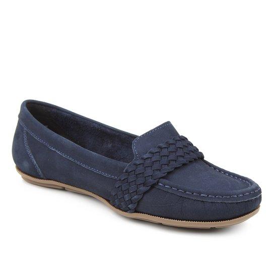 Mocassim Couro Shoestock Nobuck Gravata Trança Feminino - Marinho