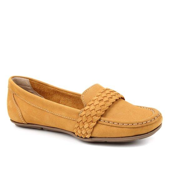 Mocassim Couro Shoestock Nobuck Gravata Trança Feminino - Amarelo