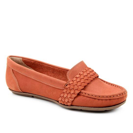 Mocassim Couro Shoestock Nobuck Gravata Trança Feminino - Marrom