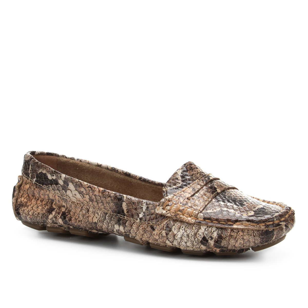 b7e8c1f99d Mocassim Couro Shoestock Snake Feminino - Compre Agora