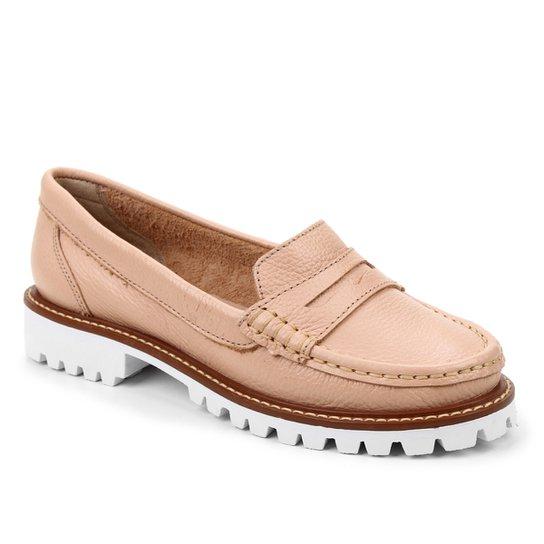 Mocassim Couro Shoestock Tratorado Feminino - Nude