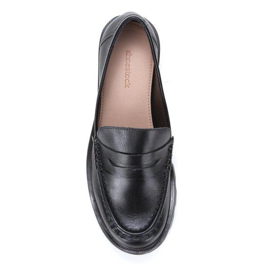 Mocassim Couro Shoestock Tratorado Feminino - Preto