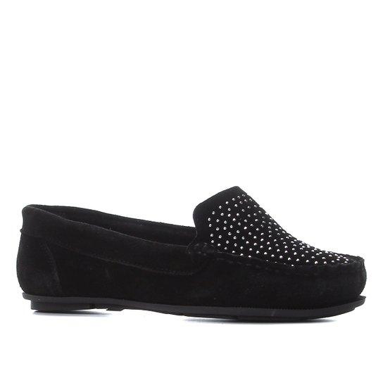 Mocassim Shoestock Hot Fix Feminino - Preto