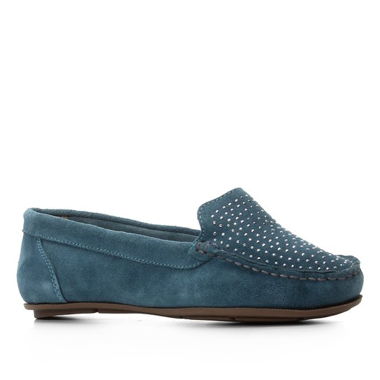 Mocassim Shoestock Hot Fix Feminino - Azul Petróleo