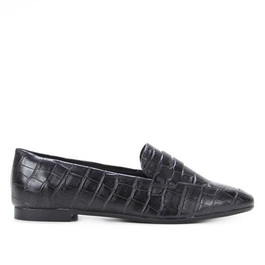 Mocassim Shoestock Loafer Croco Feminino - Preto