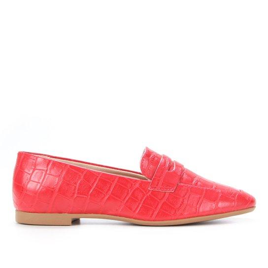 Mocassim Shoestock Loafer Croco Feminino - Vermelho