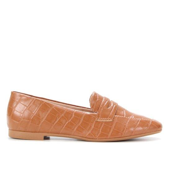 Mocassim Shoestock Loafer Croco Feminino - Caramelo