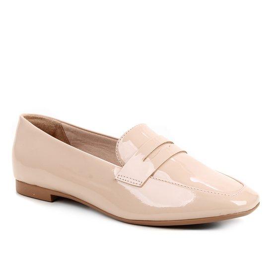 Mocassim Shoestock Loafer Verniz Feminino - Nude
