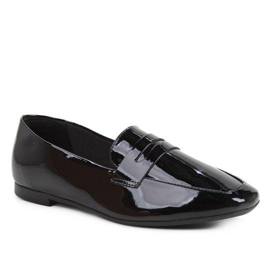 Mocassim Shoestock Loafer Verniz Feminino - Preto