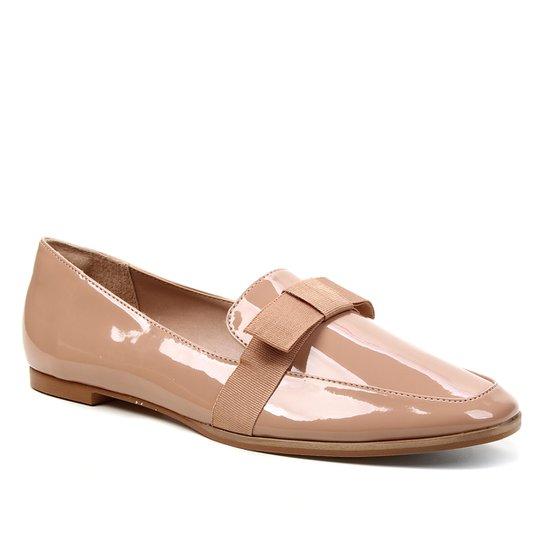 Mocassim Shoestock Verniz Laço Naked Feminino - Noz