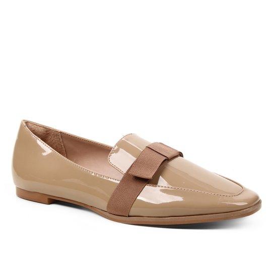 Mocassim Shoestock Verniz Laço Naked Feminino - Castanha