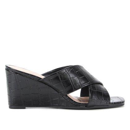 Mule Anabela Shoestock Croco Salto Alto