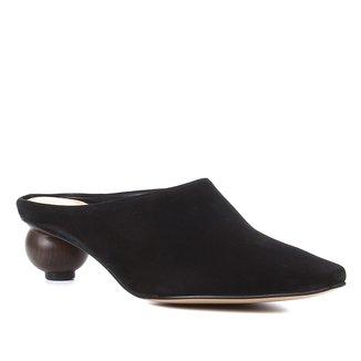 Mule Couro Shoestock Bico Fino Salto Baixo Redondo