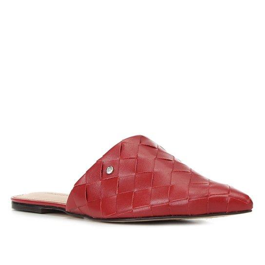Mule Couro Shoestock Bico Fino Tressê - Vermelho