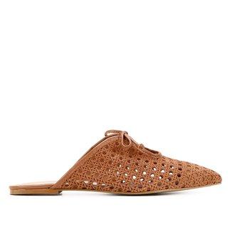 Mule Couro Shoestock Camurça Tramada