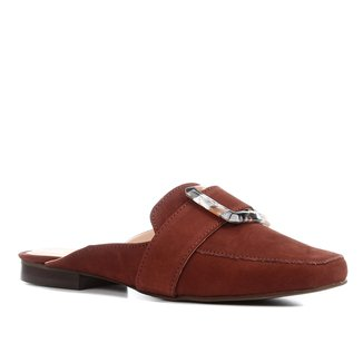 Mule Couro Shoestock Fivela Marmorizada