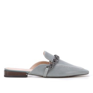 Mule Couro Shoestock Flat Corrente Metal