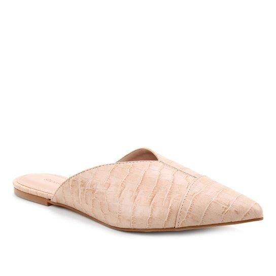 Mule Couro Shoestock Flat Croco - Nude