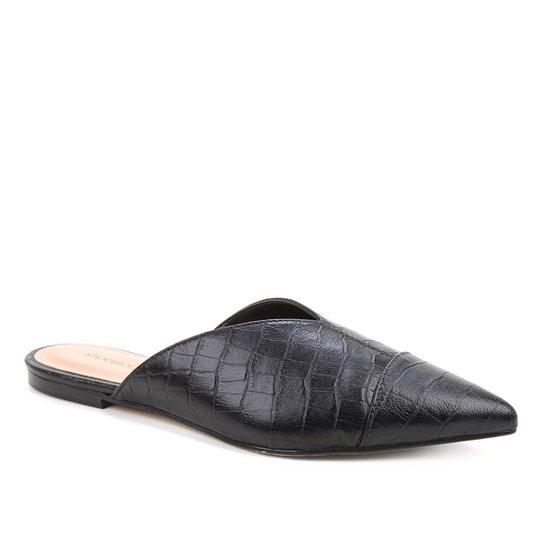 Mule Couro Shoestock Flat Croco - Preto
