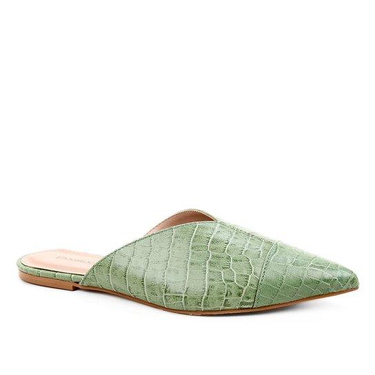 Mule Couro Shoestock Flat Croco - Verde Militar