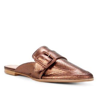 Mule Couro Shoestock Flat Fivela Lezard