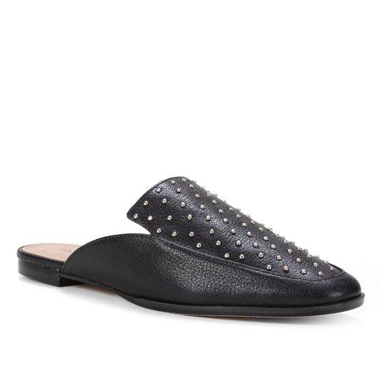 Mule Couro Shoestock Flat Tachas - Preto