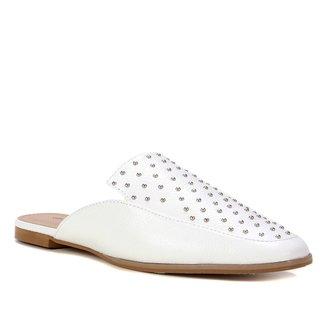 Mule Couro Shoestock Flat Tachas