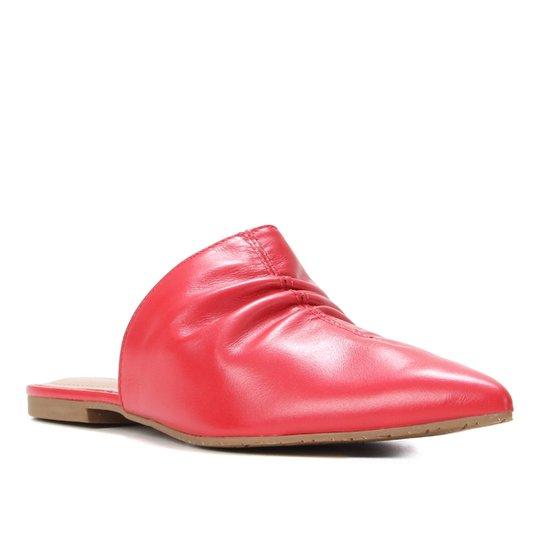 Mule Couro Shoestock For You Flat Bico Fino - Vermelho