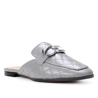 Mule Couro Shoestock Matelassê Metal