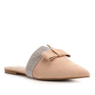 Mule Couro Shoestock Nobuck Laço Strass
