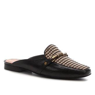 Mule Couro Shoestock Rafia Flat