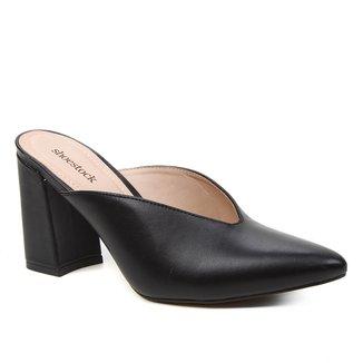 Mule Couro Shoestock Salto Alto