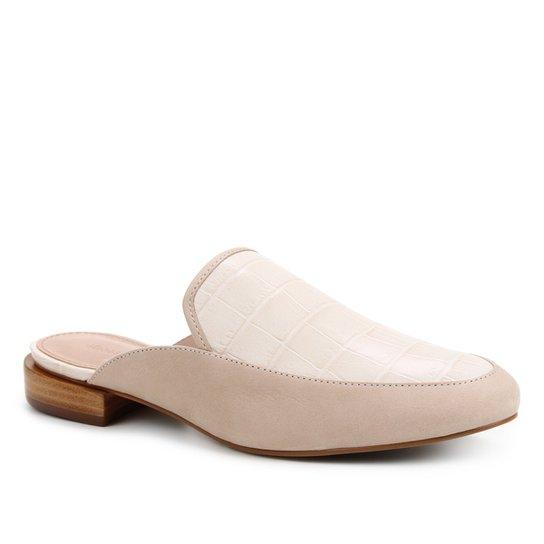 Mule Couro Shoestock Salto Baixo Croco - Bege
