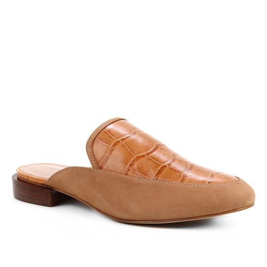 Mule Couro Shoestock Salto Baixo Croco - Caramelo