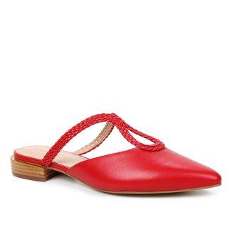 Mule Couro Shoestock Salto Baixo Tira Trançada