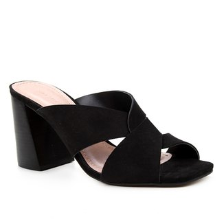 Mule Couro Shoestock Salto Bloco Nobuck