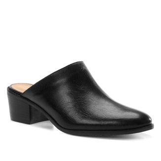 Mule Couro Shoestock Salto Bloco