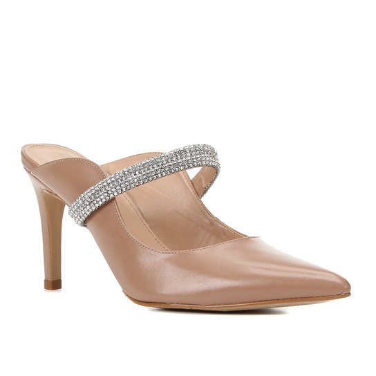 Mule Couro Shoestock Salto Médio Strass - Nude