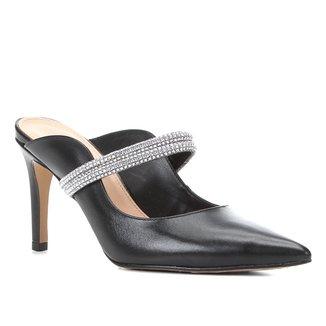Mule Couro Shoestock Salto Médio Strass