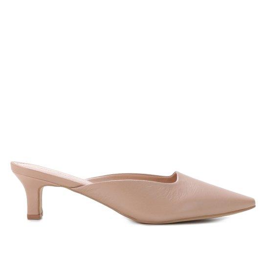 Mule Couro Shoestock Tais Bico Fino Salto Baixo - Nude