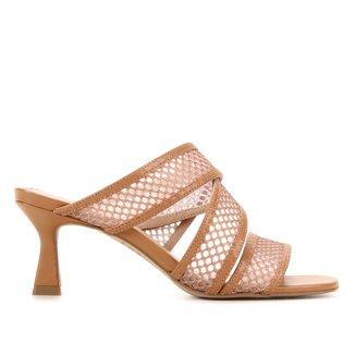 Mule Couro Shoestock Tela Salto Alto